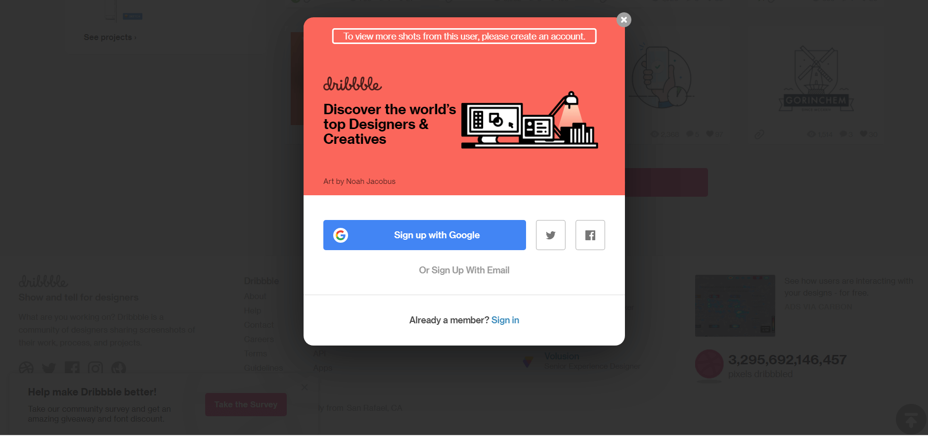 Dribbble cuts short your reading to make you register