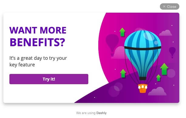 pop-up for encourage feature activation