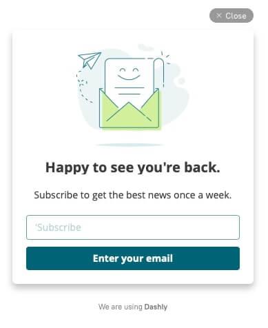 newsletter subscription pop-up