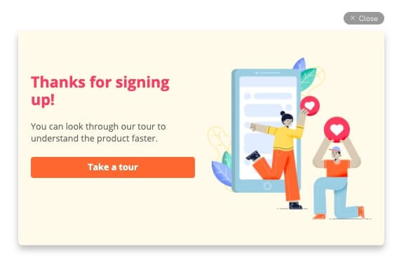 thank you for signing up pop-up