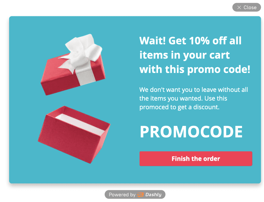 popup with promocode