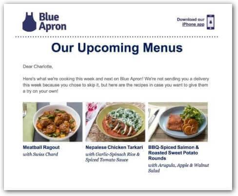 upcoming menus