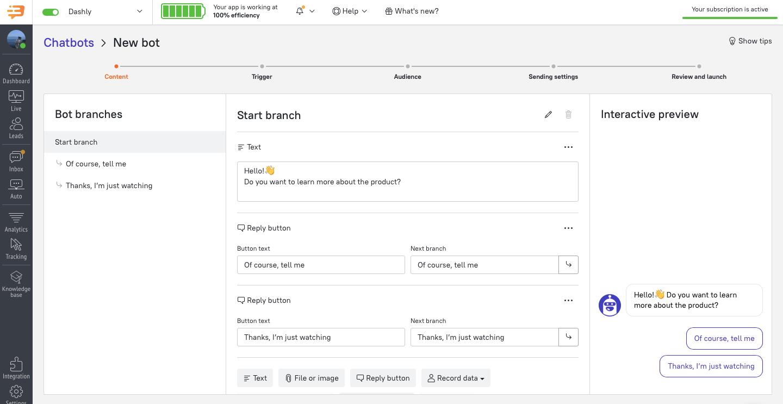 dashly admin panel interface