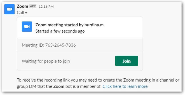 zoom meeting started
