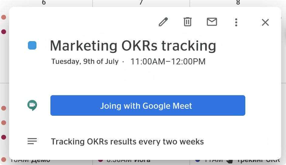 okrs tracking join with google meet