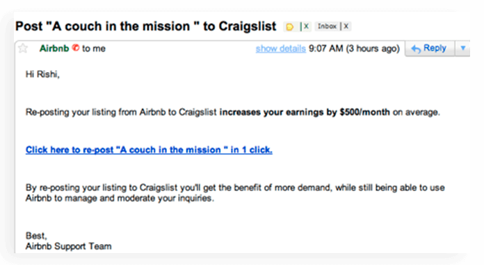 Growth hack email of Airbnb