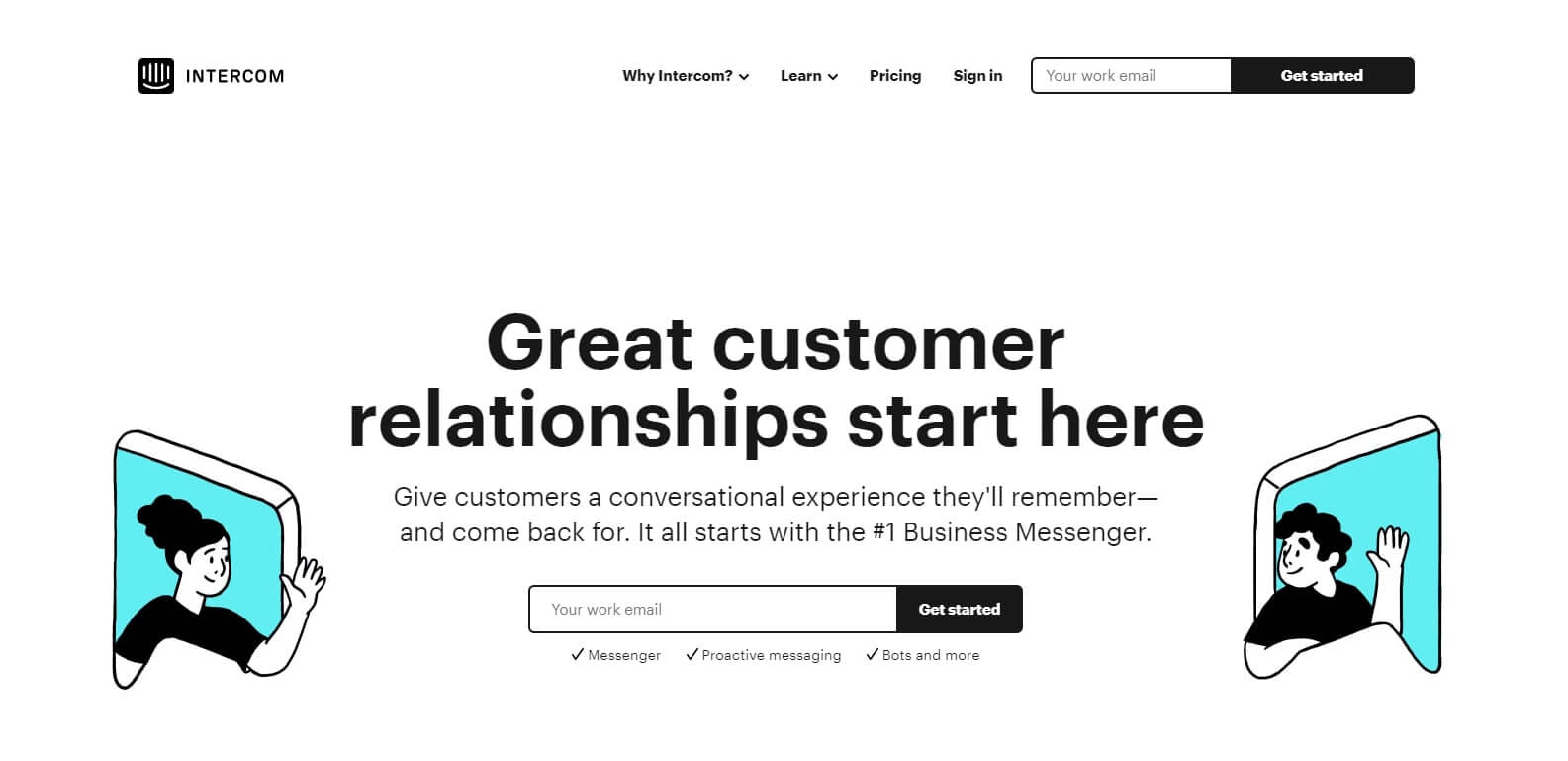 Intercom main landing page