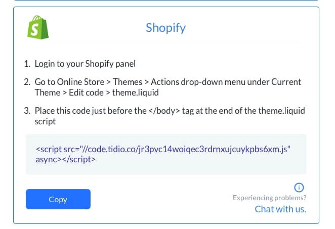 tidio installation with shopify