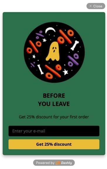 discount dashly pop up