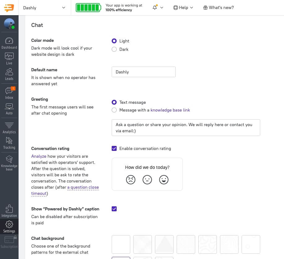 how to configure dark theme live chat in dashly