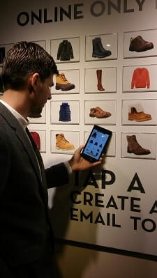 Timberland TouchWalls – the technology that allows customers to read the info about the goods by touch