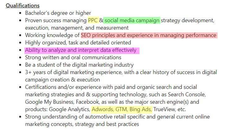 Marketers duties