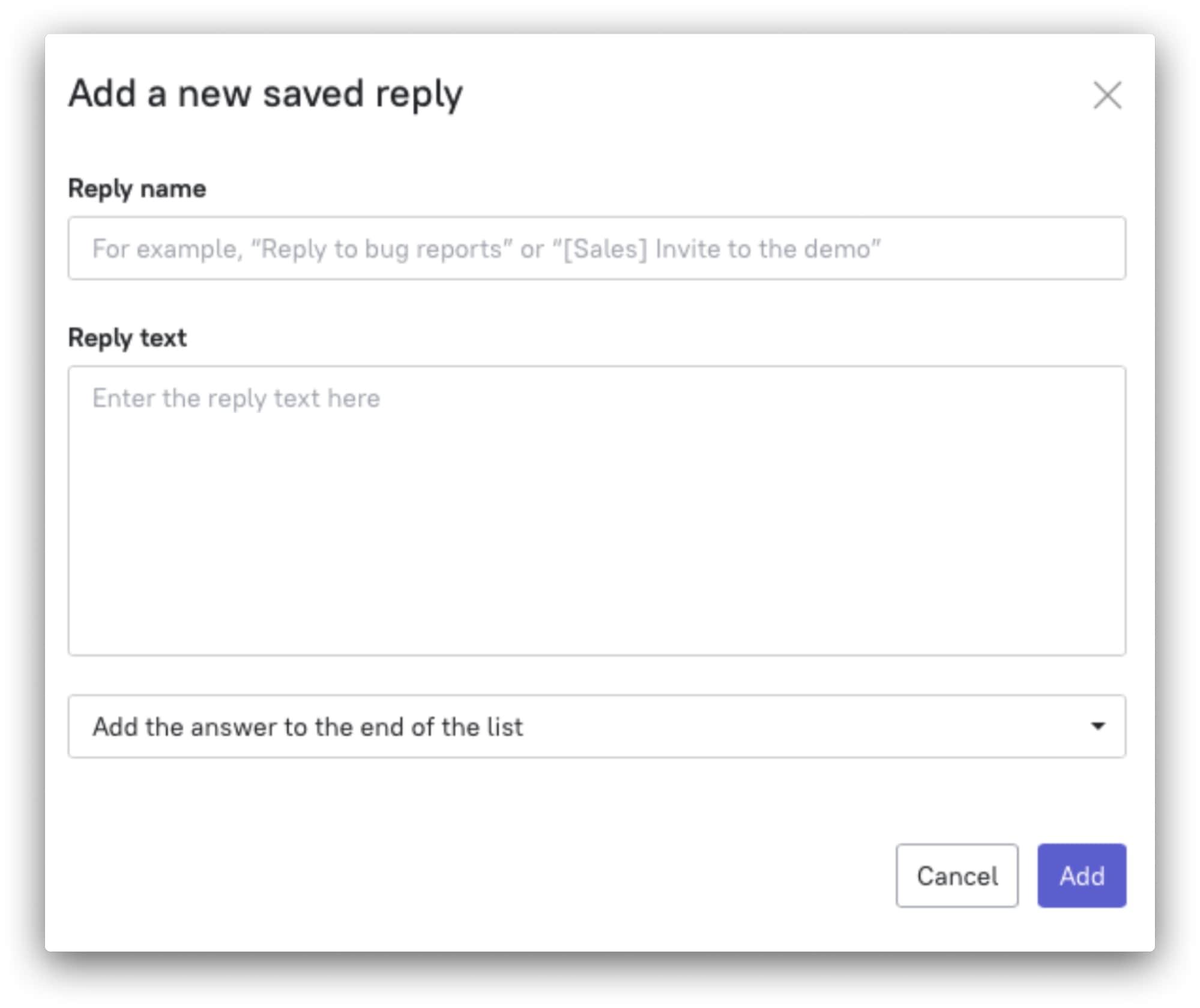 start new saved reply