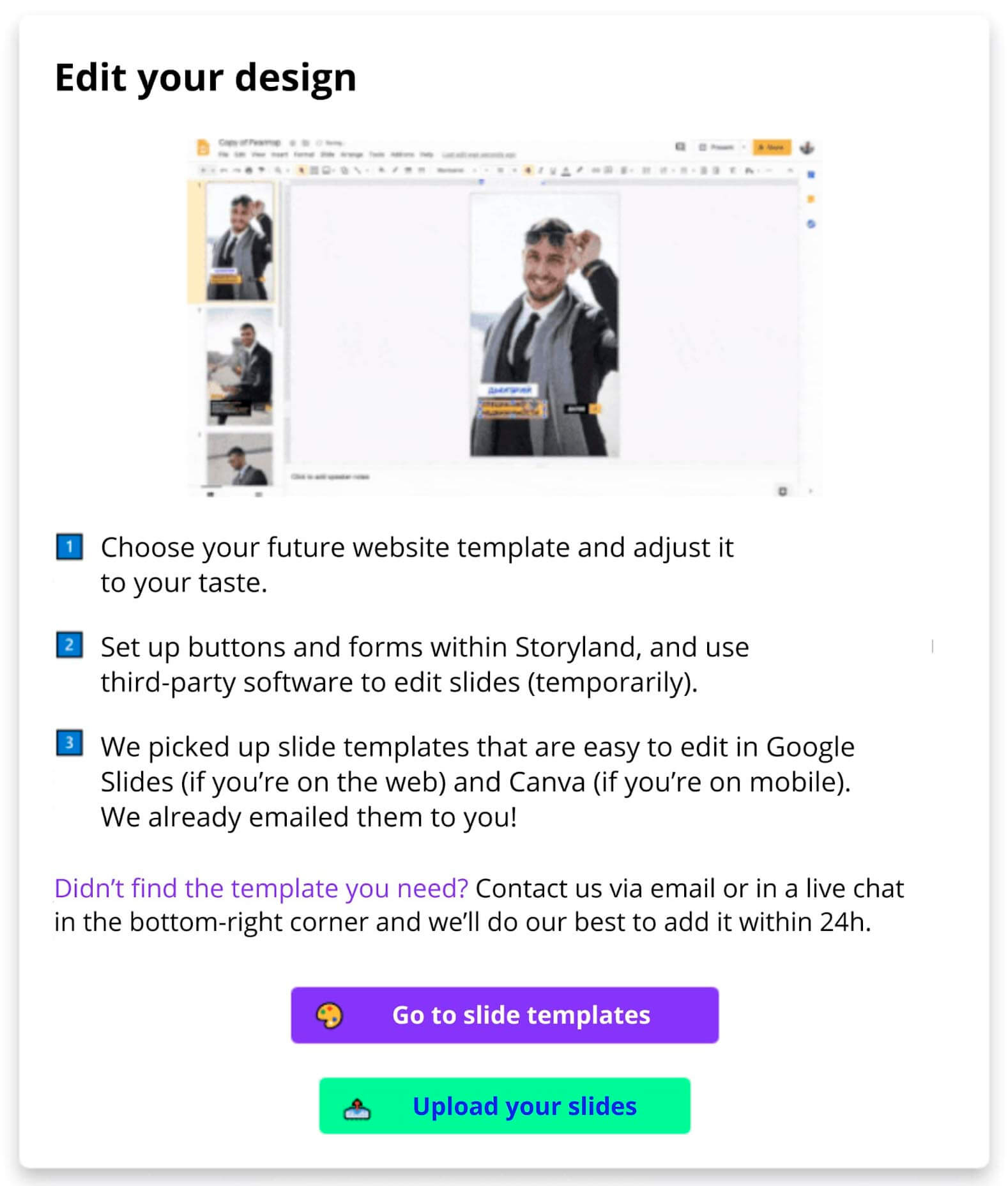 Pop-up leading to the slide templates