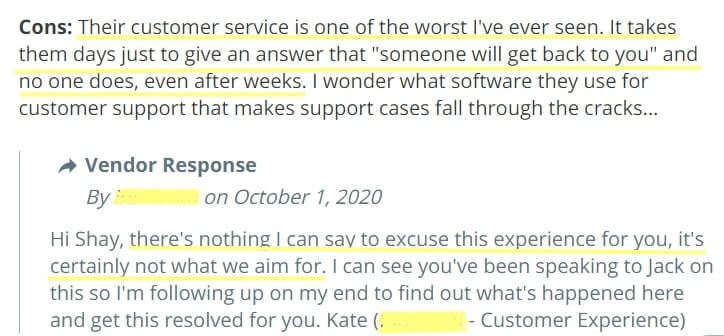 Customer support issues