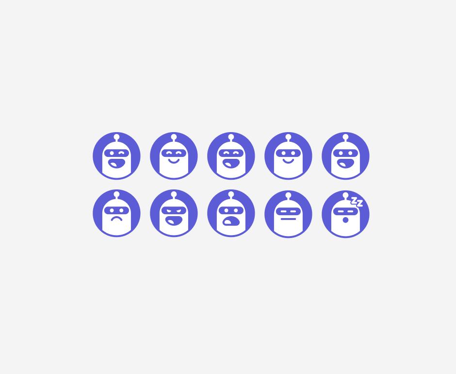 Leadbot user pics expressing various emotions