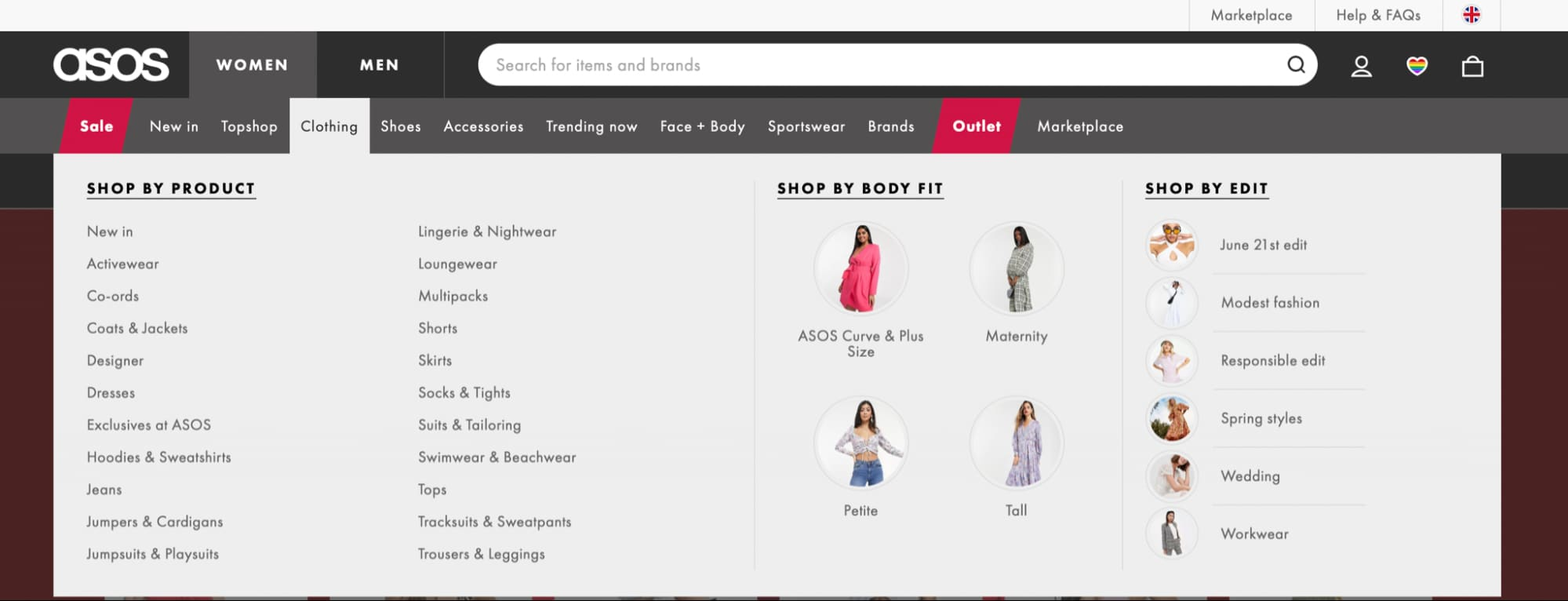 Asos.com has very convenient drop-menu where you can easily find the item you need