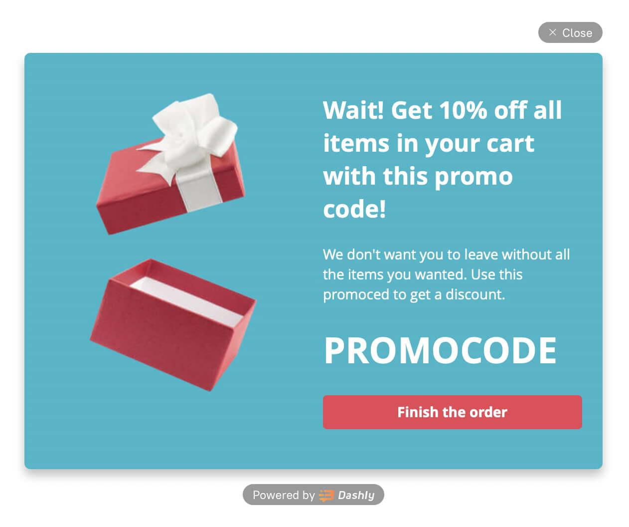 Pop-up offering a promocode