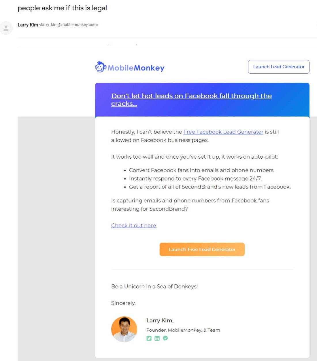 Onboarding email example MobileMonkey #10