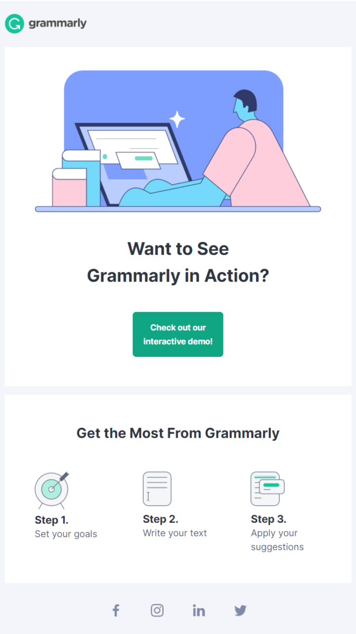 Onboarding email example Grammarly #2