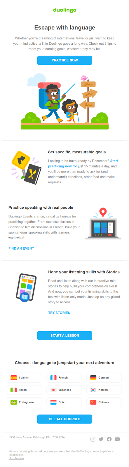Onboarding email example Duolingo #9