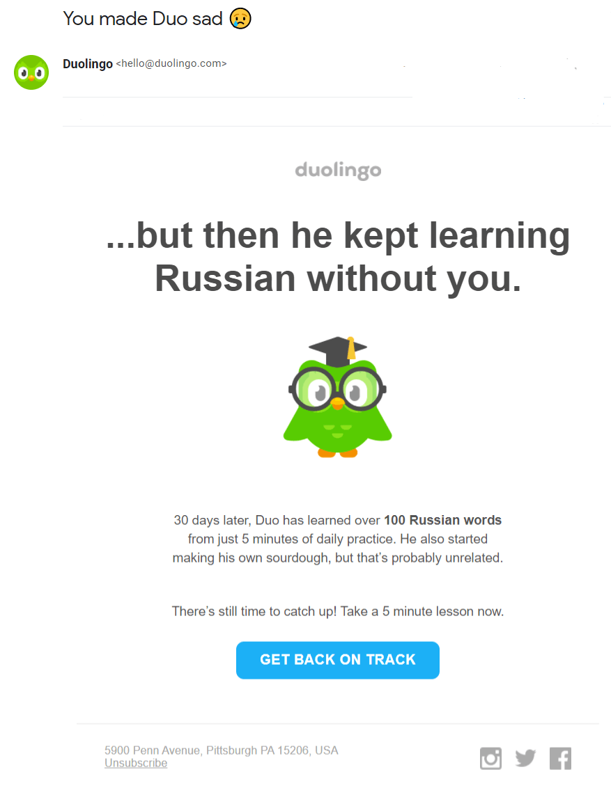 Onboarding email example Duolingo #10