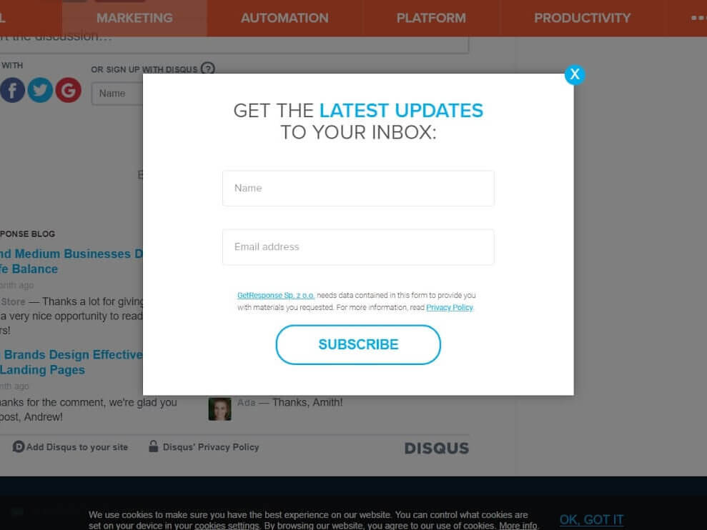 Email pop up examples