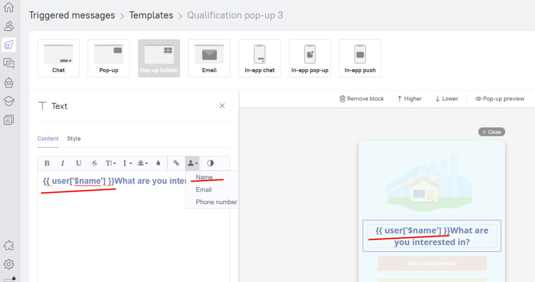 Choose 'Name' in lead properties to enable personalization