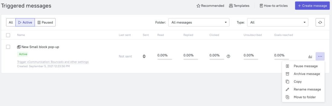 account based marketing in the Dashly interface