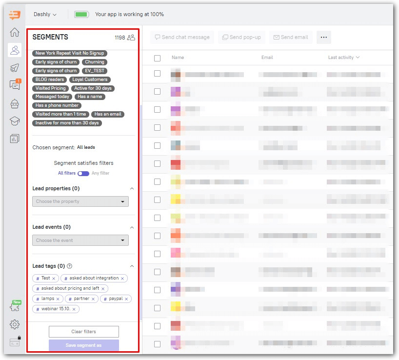 Segment audience using filters in the Dashly interface for abm strategy