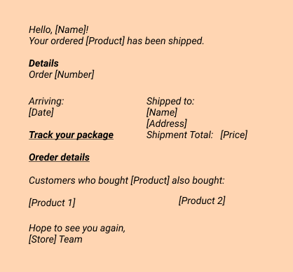 Hello, [Name]!  Your ordered [Product] has been shipped.  Details  Order [Number]  Arriving: [Date]   Track your package  Order details   Customers who bought [Product] also bought: - [Product 1] - [Product 2] Hope to see you again, [Store] Team